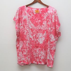 Ruby Rd Pink & White Floral Top